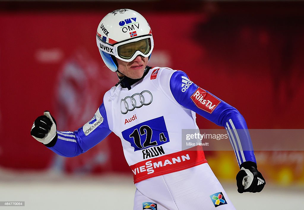 <a gi-track='captionPersonalityLinkClicked' href=/galleries/search?phrase=Rune+Velta&family=editorial&specificpeople=6845746 ng-click='$event.stopPropagation()'>Rune Velta</a> of Norway celebrates winning the gold medal in the Men's Team HS134 Large Hill Ski Jumping during the FIS Nordic World Ski Championships at the Lugnet venue on February 28, 2015 in Falun, Sweden.