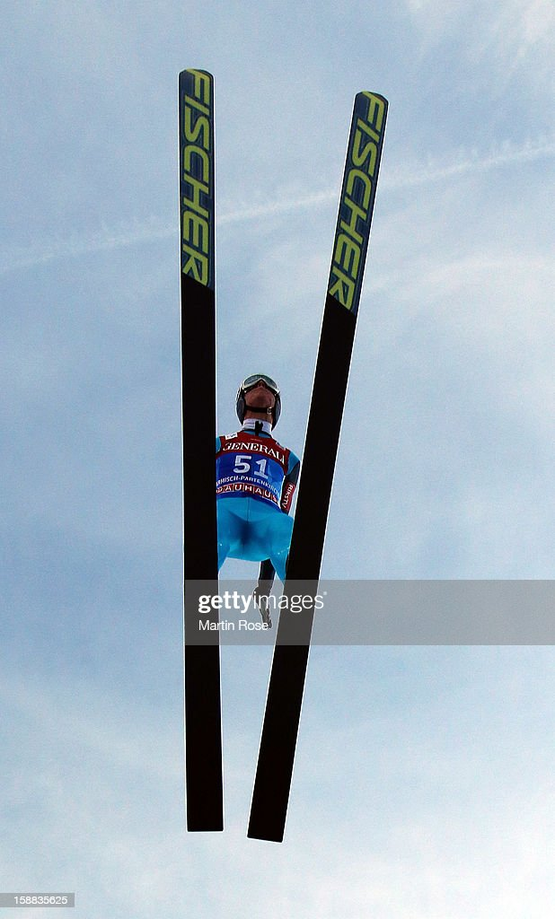 Rune Velta of Norway competes during the trial round for the FIS Ski Jumping World Cup event of the 61st Four Hills ski jumping tournament at Olympiaschanze on December 31, 2012 in Garmisch-Partenkirchen, Germany.