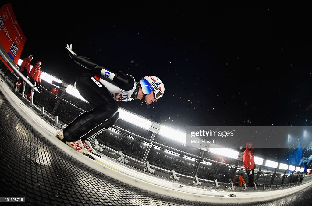 <a gi-track='captionPersonalityLinkClicked' href=/galleries/search?phrase=Rune+Velta&family=editorial&specificpeople=6845746 ng-click='$event.stopPropagation()'>Rune Velta</a> of Norway practices during the Men's Large Hill training during the FIS Nordic World Ski Championships at the Lugnet venue on February 24, 2015 in Falun, Sweden.