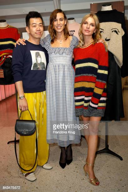 Rungang Zhu Alexa Chung and Danaja Vegelj attend the UZwei Store Opening on September 6 2017 in Hamburg Germany