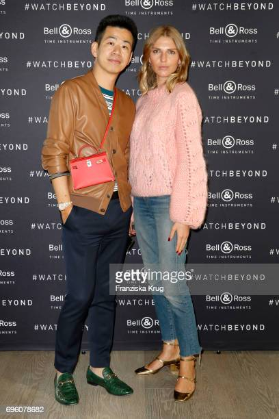 Rungang Zhu and Danaja Vegelj attend the Bell Ross Cocktail Party at Elbphilharmonie show apartment on June 14 2017 in Hamburg Germany