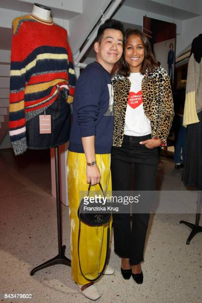 Rungang Zhu and Rabea Schif attend the UZwei Store Opening on September 6 2017 in Hamburg Germany