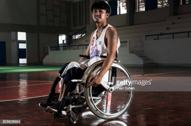 Rungroj Chaiyaman a member of Thailand's national wheelchair basketball team is portrayed here at a government sports facility in Cholburi province...