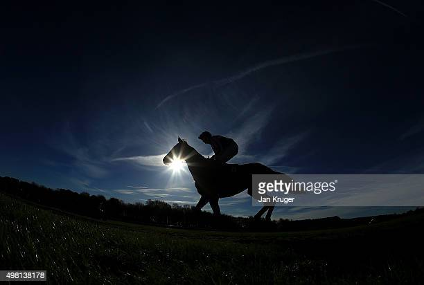 A runner and rider makes their way to the start at Haydock racecourse on November 21 2015 in Haydock England