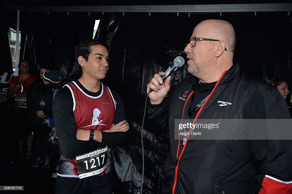 Runner and St. Jude Hero Carlos Sepulveda speaks at the St. Jude Rock 'n' Roll Nashville Marathon/Half Marathon and 5k where more than 34,000 participants weathered the rain during the 17th running on April 30, 2016 in Nashville, Tennessee.