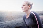 Runner catching her breath after run