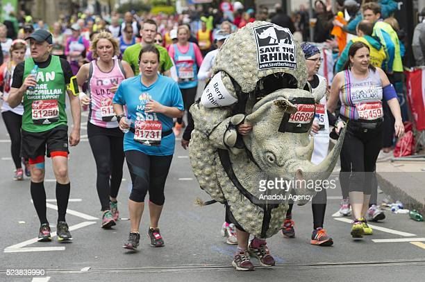 A runner dressed as a Rhinoceros at the 2016 London Marathon in London United Kingdom on April 24 2016