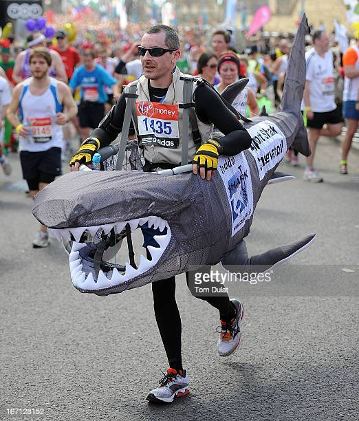 A runner in fancy dress participates in the Virgin London Marathon 2013 on April 21 2013 in London England