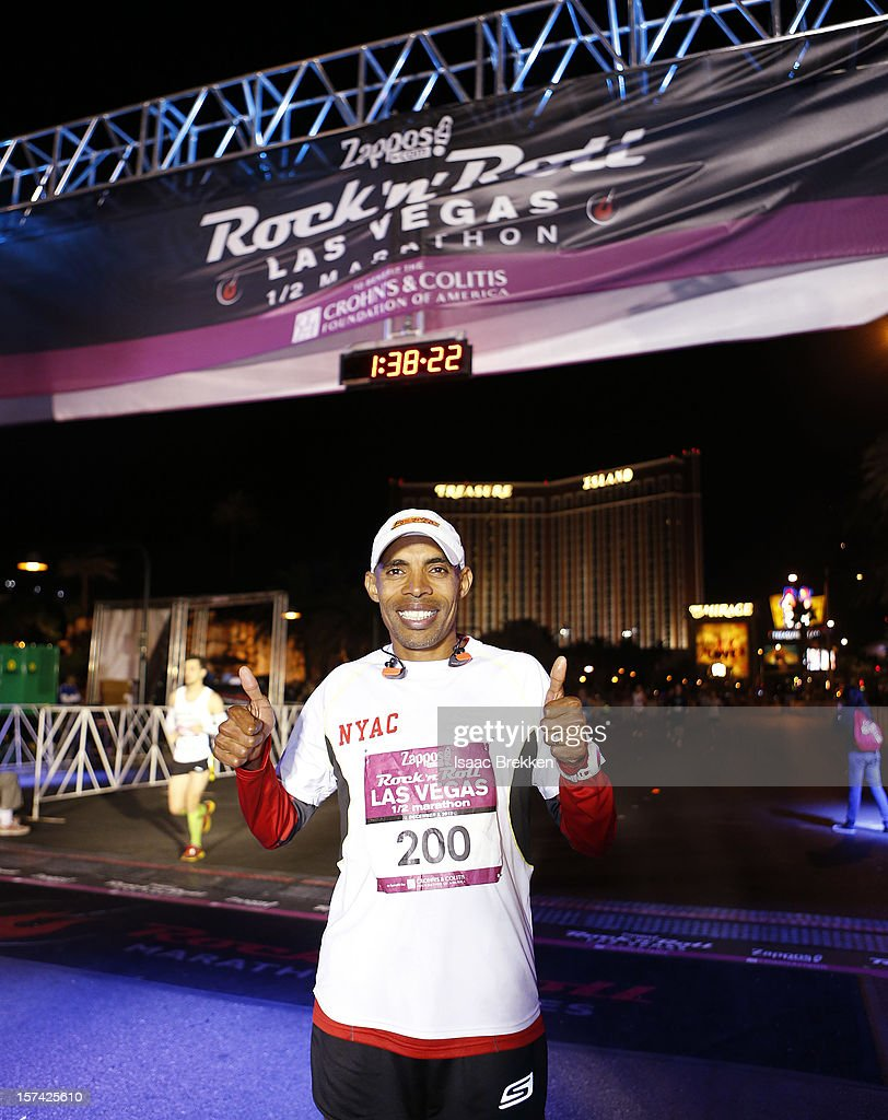 Runner <a gi-track='captionPersonalityLinkClicked' href=/galleries/search?phrase=Meb+Keflezighi&family=editorial&specificpeople=225084 ng-click='$event.stopPropagation()'>Meb Keflezighi</a> poses for a photo during the Zappos.com Rock 'n' Roll Las Vegas Marathon on December 2, 2012 in Las Vegas, Nevada.
