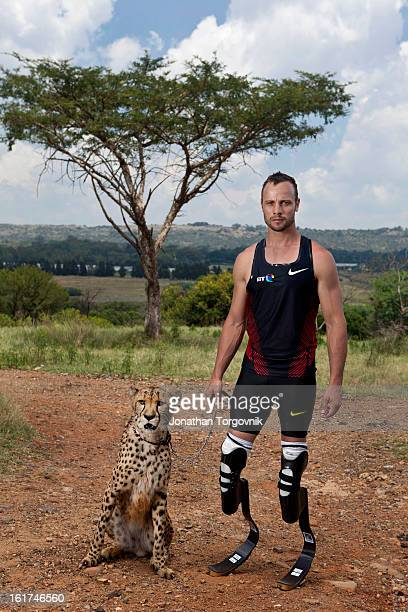 Runner Oscar Pistorius is photographed for Men's Health Magazine on February 21 2012 in Pretoria South Africa