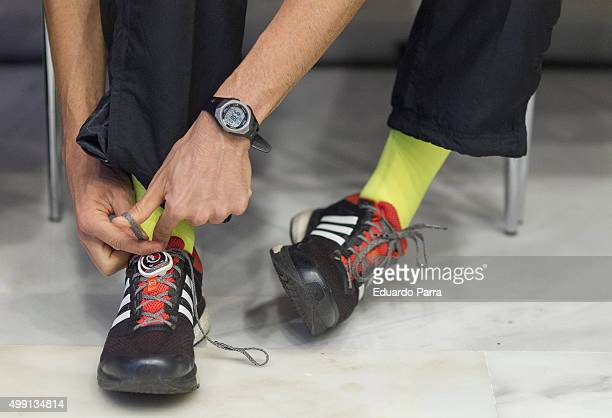 A runner sneakers detail attends NH Collection Eurobuilding vertical Race at Eurobuilding hotel on November 29 2015 in Madrid Spain