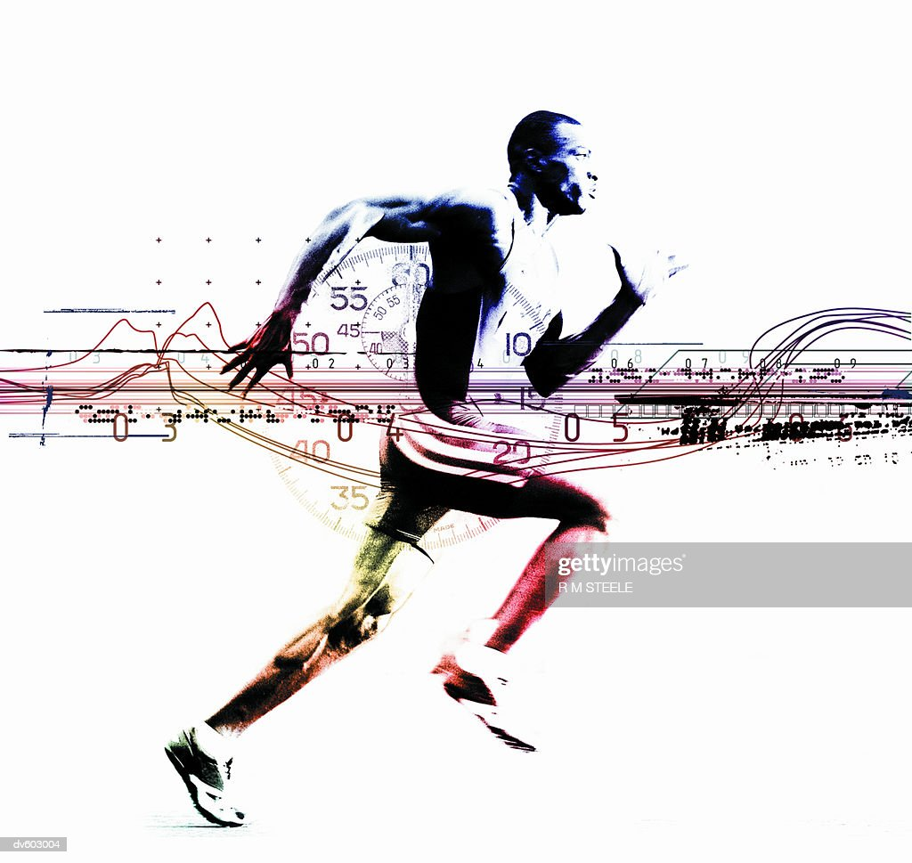 Runner Superimposed over Stopwatch