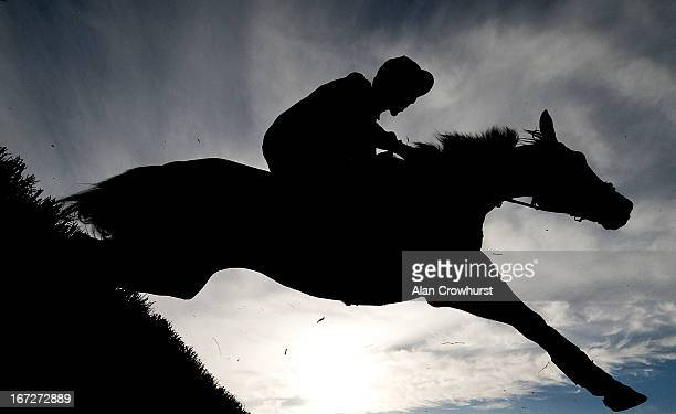 A runner takes a fence in The Growise Champion Novice Chase at Punchestown racecourse on April 23 2013 in Naas Ireland