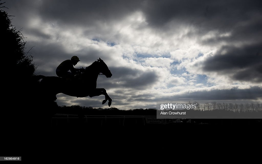A runner takes a flight of hurdles at Newbury racecourse on March 02, 2013 in Newbury, England.