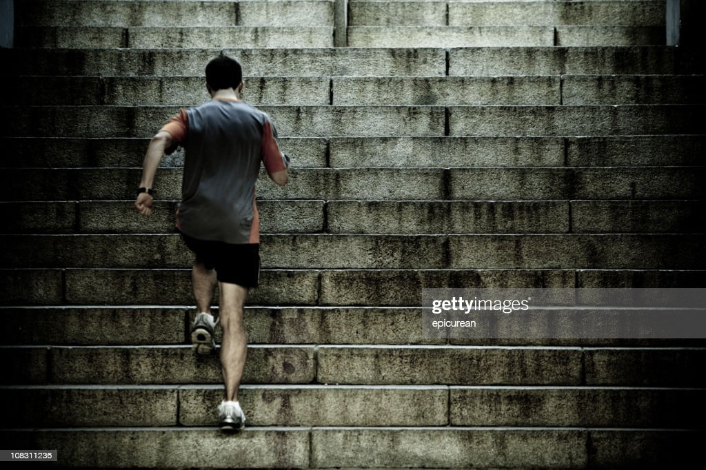 Runner training on stair intervals : Stock Photo