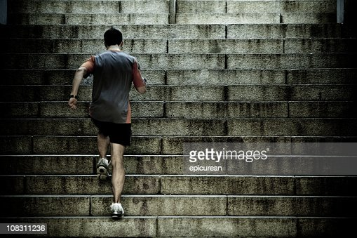 Runner training on stair intervals