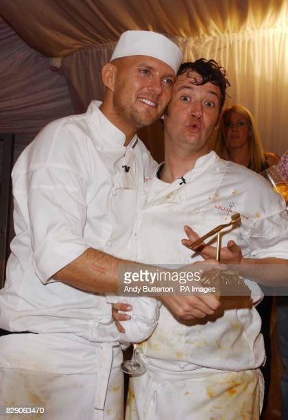 Runner up of Hell's Kitchen James Dreyfuss with Matt Goss who came third at Gordon Ramsay's temporary restaurant in Brick Lane east London The ITV1...