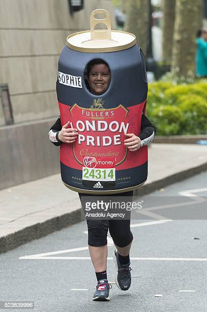 A runner wearing a beer costume takes part in the 2016 London Marathon in London United Kingdom on April 24 2016