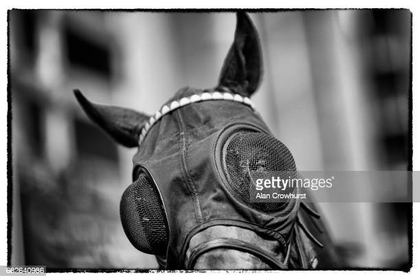 A runner with eyeshields collects mud and grass after racing at Ascot Racecourse on May 13 2017 in Ascot England