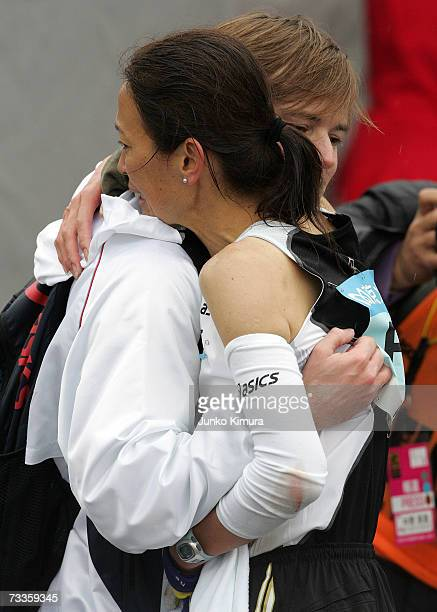 Runner Yuko Arimori hugs her husband after running the Tokyo Marathon 2007 on February 18 2007 in Tokyo Japan Some 30000 people participated in the...