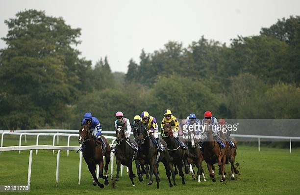 Runners and riders come around the first corner during the Windsor fireworks extravaganza maiden Stakes run at Windsor Racecourse on October 16 2005...