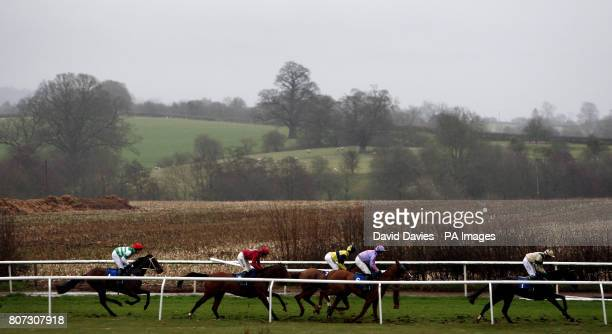 Runners and riders during the Whittingham Riddell Novices' Handicap Hurdle make their way along the back straight at Ludlow Racecourse Shropshire