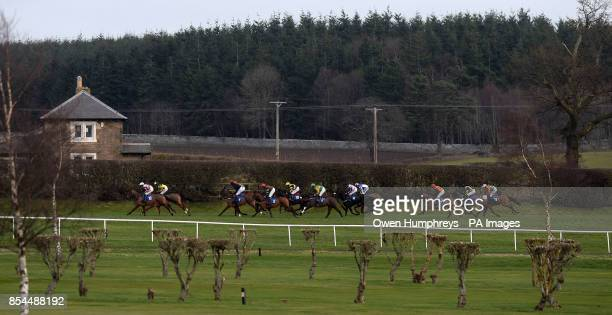 Runners and Riders in action during the David Merry Farrier Novice's Hurdle during the Morebattle Hurdle Day at Kelso Racecourse Wooler