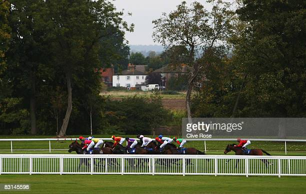Runners and riders in action during the Morelli Group handicap stakes run at Royal Windsor Race Course on October 6 2008 in Windsor England