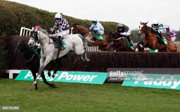Runners and Riders in The Paddypowercom Handicap Steeple Chase during the Paddy Power Imperial Cup Day at Sandown Park Racecourse Surrey