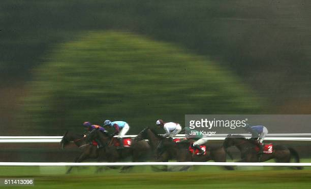 Runners and riders including eventual winner Bishops Road ridden by Richard Johnson make their way on the back straight in the Betfred Grand National...