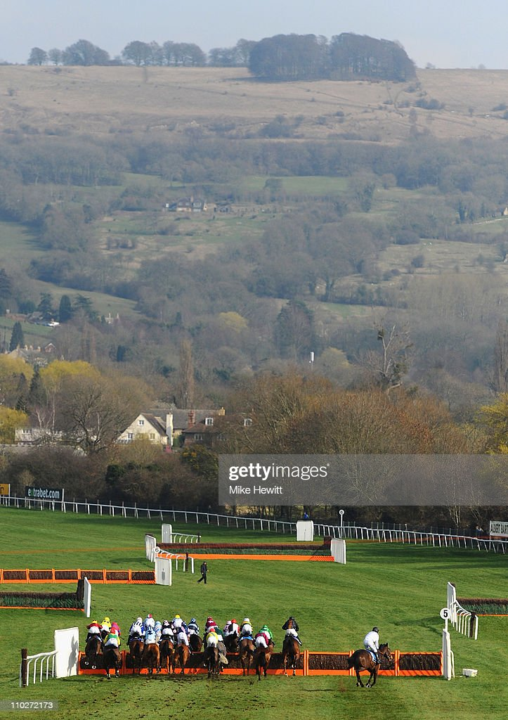 Runners and riders jump the 5th fence down the back straight in the Pertemps Final at Cheltenham Racecourse on St Patrick's Day on March 17 2011 in...