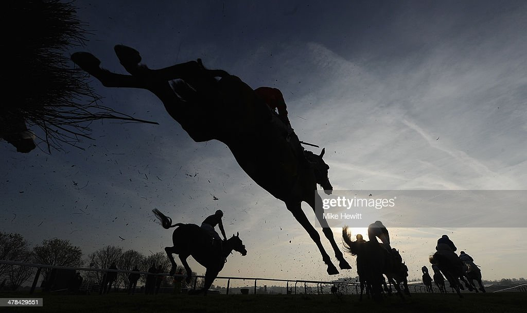 Runners and riders jump the third last in the Fulke Walwyn Kim Muir Challenge Cup Handicap Chase at Cheltenham Racecourse on March 13, 2014 in Cheltenham, England.
