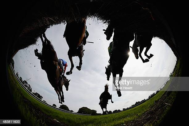 Runners and riders negotiate the first fence during the Maureen Sturt Ladies Day Novices' Handicap Chase at Fontwell Park on August 13 2015 in...