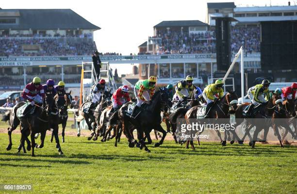 Runners and riders start the 2017 Randox Heath Grand National at Aintree Racecourse on April 8 2017 in Liverpool England
