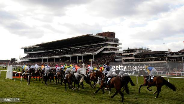 Runners approach the hurdle in front of the grandstand during St Patrick's Thursday at Cheltenham racecourse on March 14 2013 in Cheltenham England