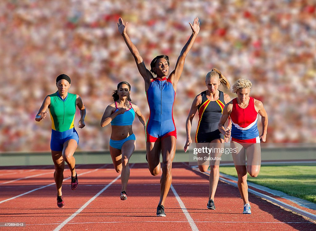 Runners at finish line : Stock Photo