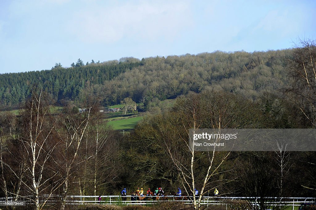 Runners at the start of The Dinham Novices' Steeple Chase at Ludlow racecourse on January 30, 2013 in Ludlow, England.
