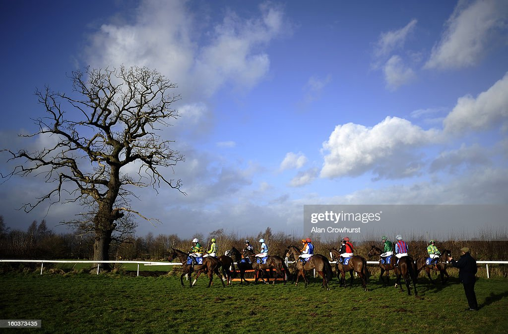 Runners circle at the start for The Bet With The Ludlow On Course Bookmakers Mares' Handicap Hurdle Race at Ludlow racecourse on January 30, 2013 in Ludlow, England.