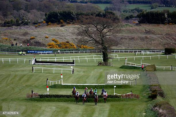 Runners clear the galway double in The Kildare Hunt Club Fr Breen Memorial Steeple Chase at Punchestown racecourse on April 28 2015 in Naas Ireland