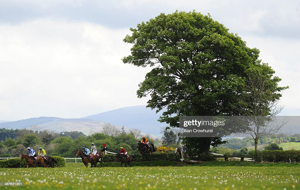 Runners clear the Laurel Bank in The Avon Ri Corporate & Leisure Resort Chase For The La Touche Cup at Punchestown racecourse on May 01, 2014 in Naas, Ireland.