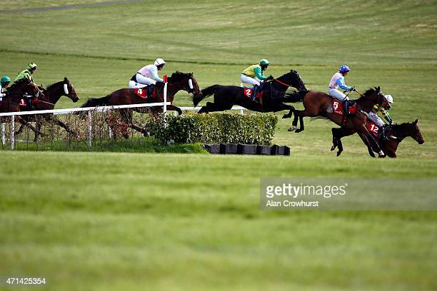 Runners clear the laurel hedge in The Kildare Hunt Club Fr Breen Memorial Steeple Chase at Punchestown racecourse on April 28 2015 in Naas Ireland