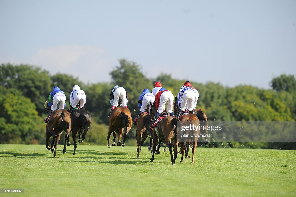 Runners climb the hill towards the top bend in The Chantilly Handicap Stakes at Epsom racecourse on August 27, 2013 in Epsom, England.
