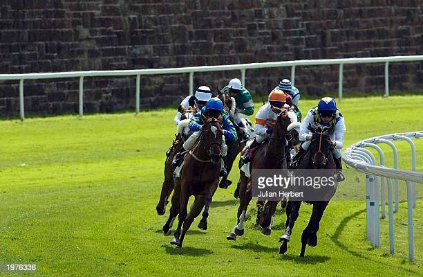Runners come round the final bend during The Joseph Heler Cheshire Cheese Lily Agnes Conditions Stakes Race run at Chester Racecourse on May 6 2003...