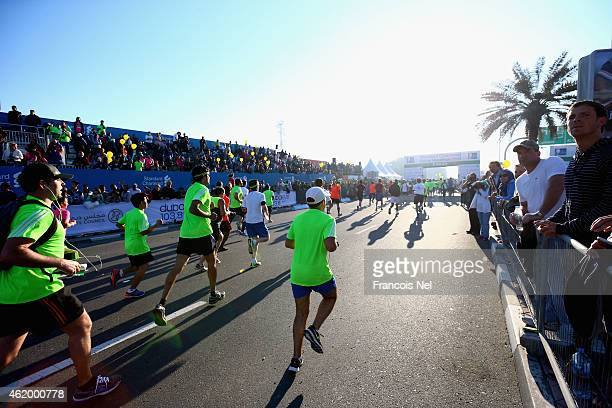 Runners compete during the Standard Chartered Dubai Marathon on January 23 2015 in Dubai United Arab Emirates