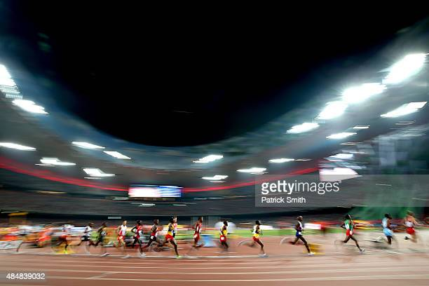 Runners compete in the Men's 10000 metres final during day one of the 15th IAAF World Athletics Championships Beijing 2015 at Beijing National...