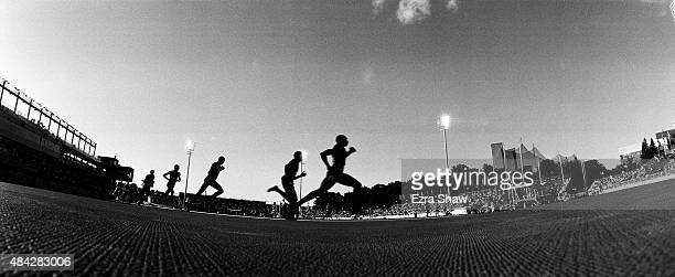 Runners compete in the men's 800 meter final during Day 13 of the Toronto 2015 Pan Am Games on July 23 2015 in Toronto Canada