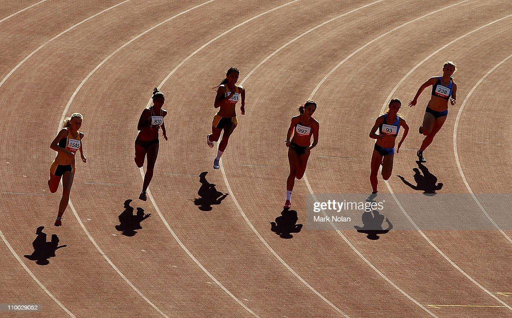 Runners Compete In The Under 15 Womens 200 Metres Heats During Day Four Of Australian