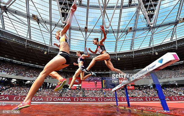 Runners compete in the Women's 3000m Steeplechase during Day Two of the Muller Anniversary Games at The Stadium Queen Elizabeth Olympic Park on July...