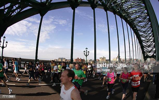 SEPTEMBER 30 runners cross the Tyne Bridge during the Bupa Great North Run at South Shields on September 30 2007 in Newcastle England