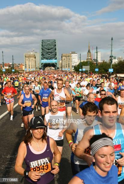SEPTEMBER 30 SEPTEMBER 30 runners cross the Tyne Bridge during the Bupa Great North Run at South Shields on September 30 2007 in Newcastle England